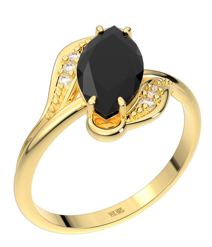 Ladies 14K Yellow Gold Genuine Diamond Marquise Black Onyx Ring