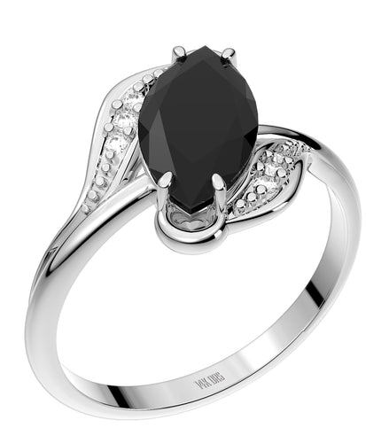 Ladies 925 Sterling Silver Genuine Diamond Marquise Black Onyx Ring