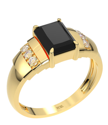 Ladies 14K Yellow Gold Genuine Diamond Rectangular Black Onyx Ring