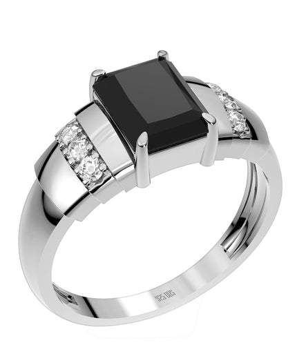 Ladies 925 Sterling Silver Genuine Diamond Rectangular Black Onyx Ring