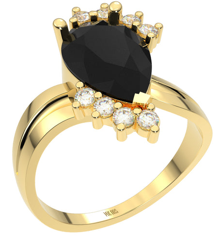 Ladies 14K Yellow Gold Genuine Diamond Pear Black Onyx Ring