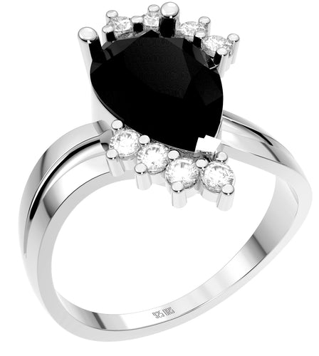 Ladies 925 Sterling Silver Genuine Diamond Pear Black Onyx Ring