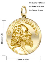 Gold Pendant Necklace With St Jude Thaddeus - Size Details