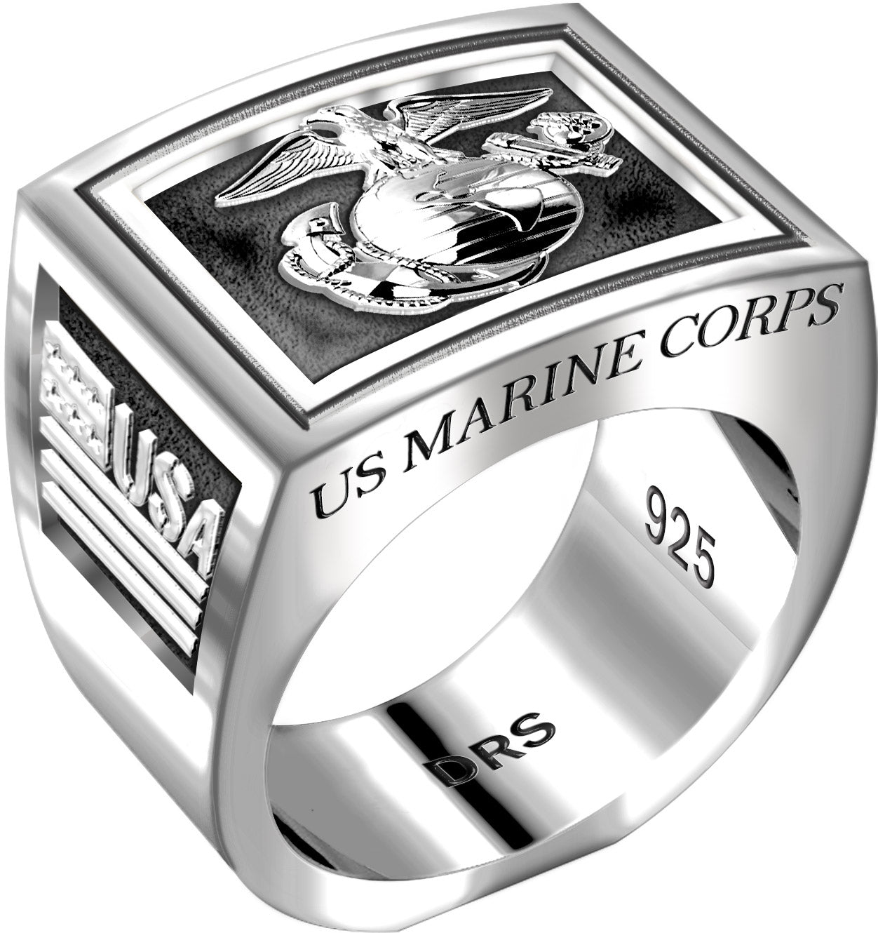 Men's Heavy 0.925 Sterling Silver US Marine Corps USMC Ring Band