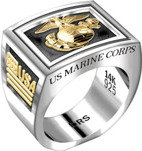 Men's Heavy Two Tone US Marine Corps USMC Ring