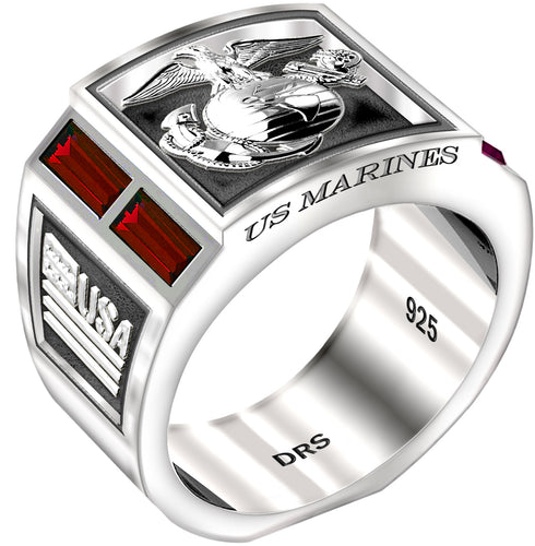 USMC Logo Ring in Silver Simulated With red sapphire