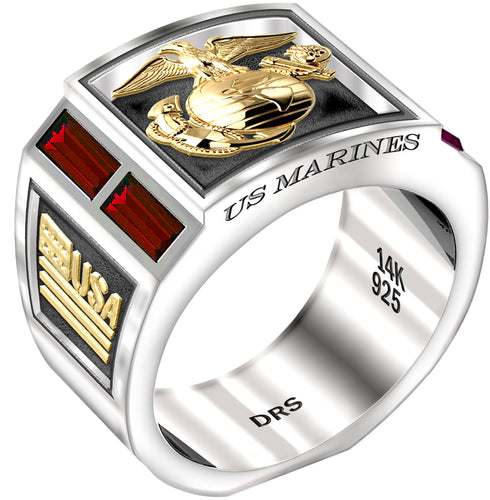 Men's Two Tone Ruby US Marine Corps USMC Ring