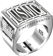 USMC 0.925 Sterling Silver Ring Band for men