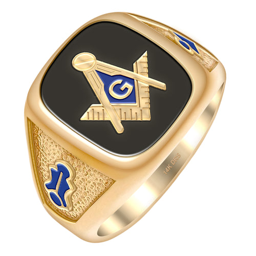 Masonic Ring Men's Solid Back - Full Upper View