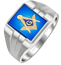 Masonic Ring Two Tone Vermeil - Blue