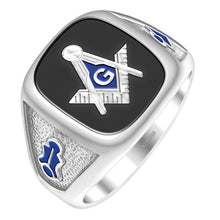 Masonic Ring Solid Back Men In Size 10 - Black