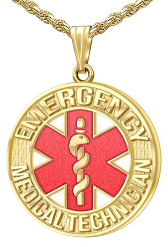 Medical Alert Necklace - EMT Necklace In Yellow Gold