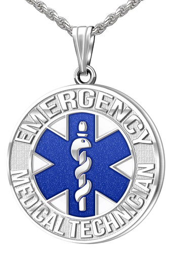 Medical Alert Necklace - Silver Pendant For Paramedic/EMT