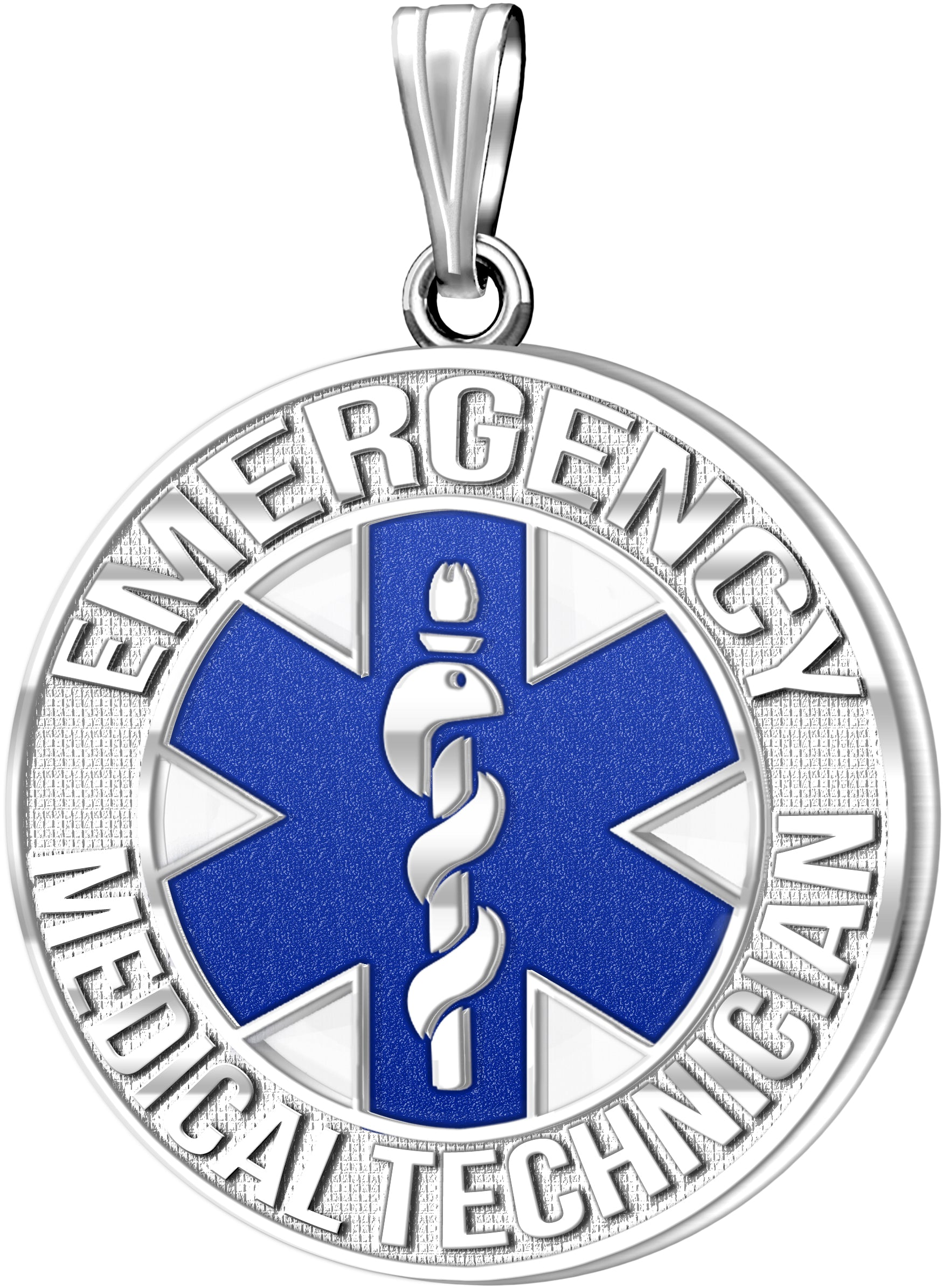 Medical Alert Necklace For Paramedic/EMT In Blue - No Chain