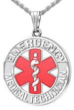 Medical Alert Necklace For Paramedic/EMT In Red - Full View