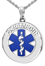 Medical Alert Necklace For Paramedic In Blue - Full View