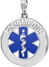 Medical Alert Necklace For Paramedic In Blue - Pendant Only