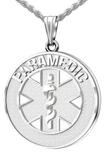 Medical Alert Necklace For Paramedic In Silver - Full View