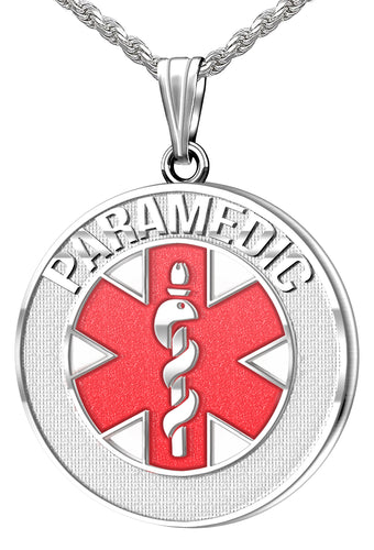 Medical Alert Necklace - Silver Pendant For Paramedic