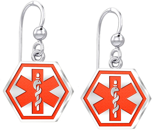 Dangle Earring In Hexagon Shape & Medical Alert - Red