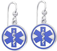 Dangle Earring With Round Design & Medical Alert - Blue