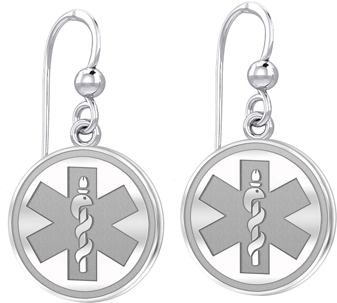 Dangle Earring With Round Design & Medical Alert - Silver