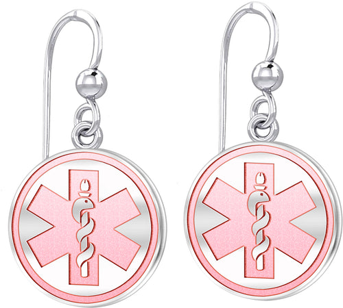Dangle Earring With Round Design & Medical Alert - Pink