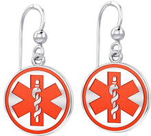 Dangle Earring With Round Design & Medical Alert - Red