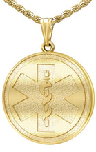 Medical Alert Necklace - Engravable Pendant In Solid Gold