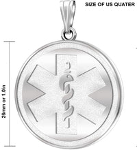 Medical Alert Necklace With Engraving In Silver - Size
