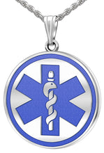 Medical Alert Necklace With Engraving In Blue - Full View