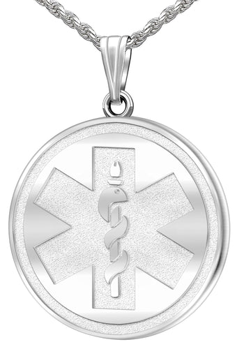 Medical Alert Necklace - Engravable Pendant In Silver