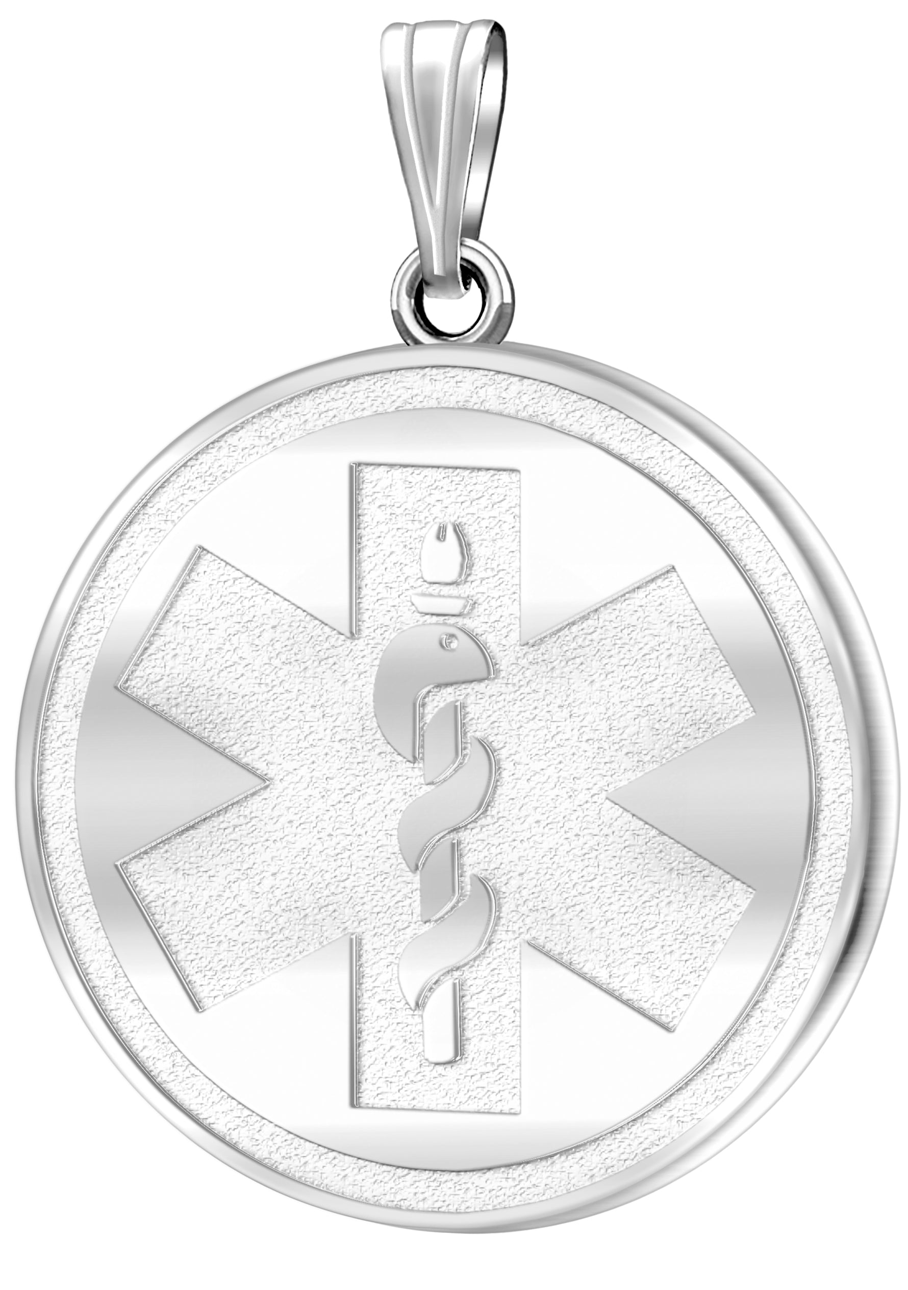 Medical Alert Necklace With Engraving In Silver - No Chain