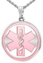 Medical Alert Necklace With Engraving In Pink - Full View