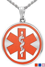 Medical Alert Necklace - Engravable Pendant In 5 Colors
