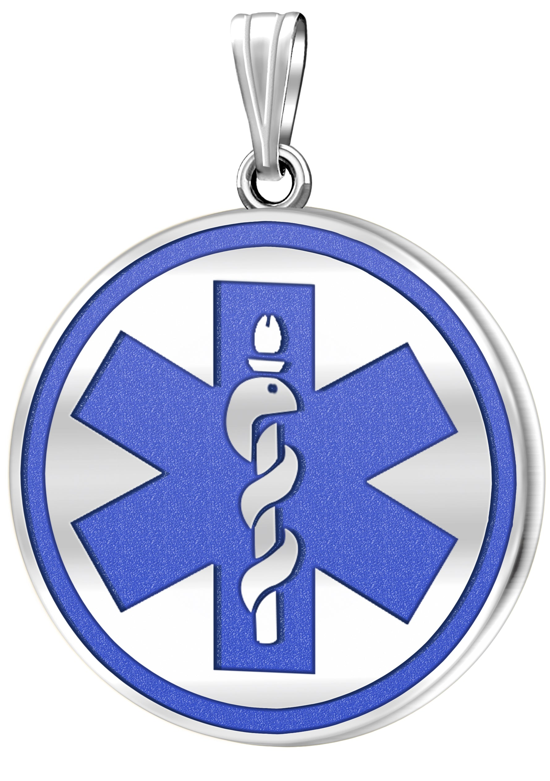Medical Alert Necklace With Engraving In Blue - No Chain