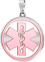 Medical Alert Necklace With Engraving In Pink - No Chain