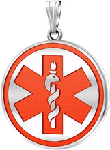Medical Alert Pendant Of Silver In Five Colors - No Chain