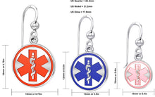 Dangle Earring With Round Design & Medical Alert - Details