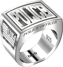 Men's Heavy 0.925 Sterling Silver Police Officer Ring