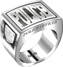 Men's Heavy 0.925 Sterling Silver Police Officer Ring Band