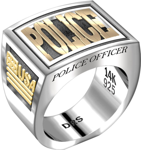 Men's Heavy Two Tone 0.925 Sterling Silver and 14k Yellow Gold Police Officer Ring Band