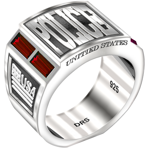 Men's 0.925 Sterling Silver Simulated Ruby Police Medical Ring