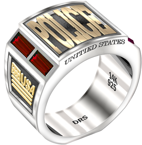 Men's Two Tone 0.925 Sterling Silver and 14k Yellow Gold Simulated Ruby Police Medical Ring