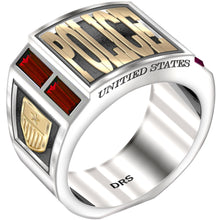 Men's Sterling Silver and 14k Gold Simulated Ruby Police Ring