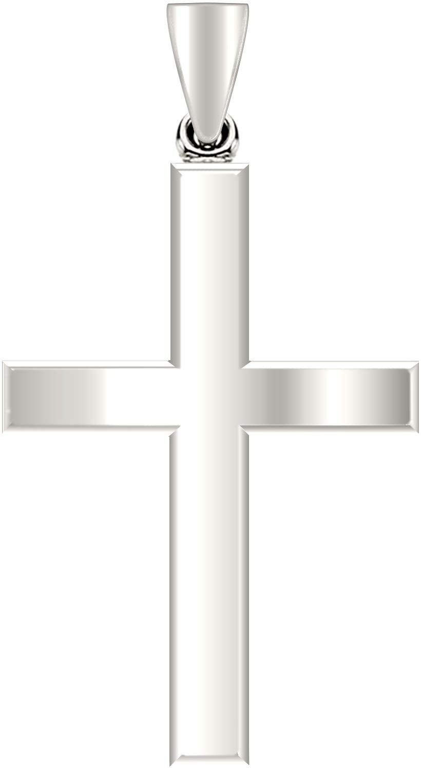 Solid 0.925 Sterling Silver Cross Pendant Necklace