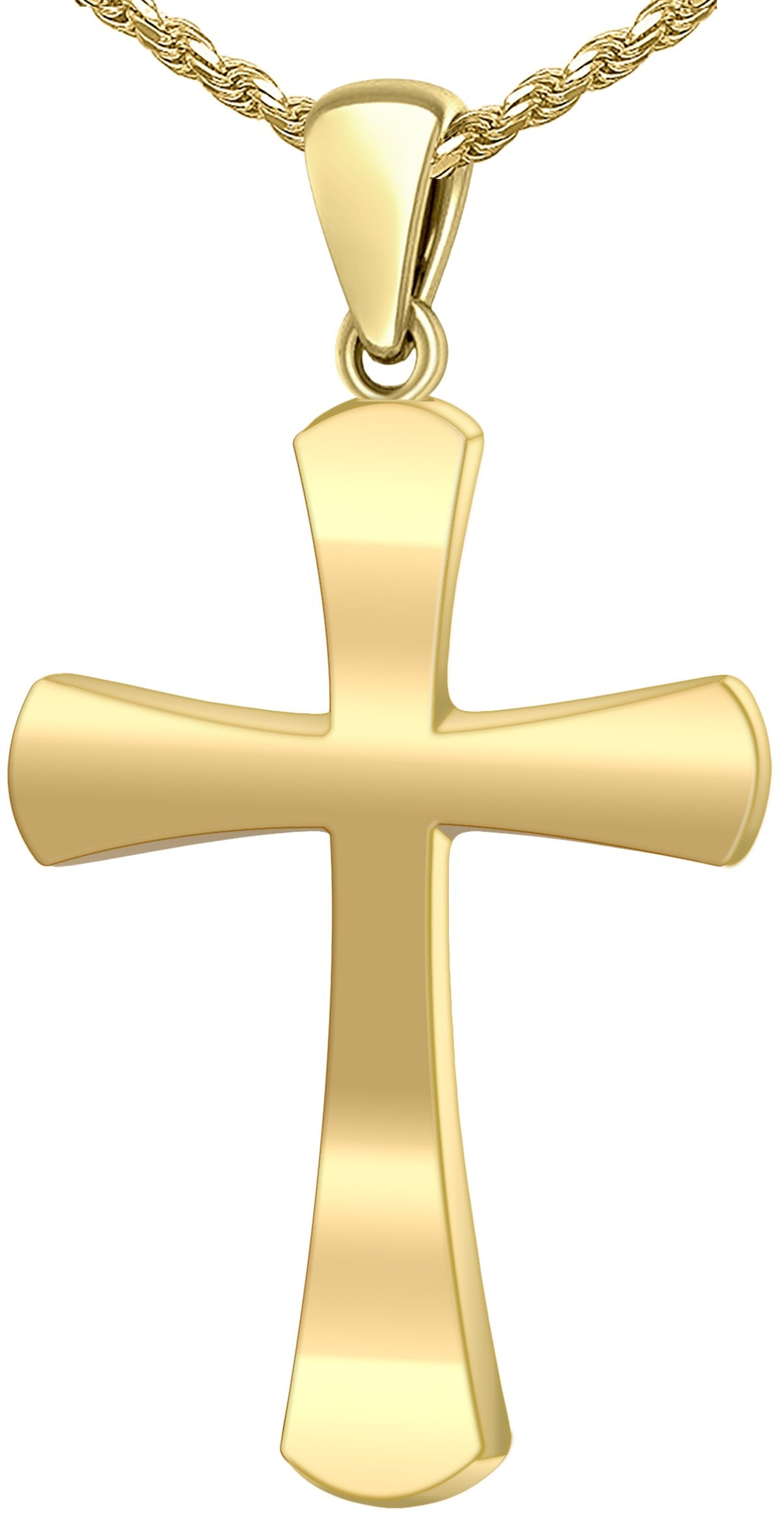 Christian Cross Necklace - Gold Pendant In Round For Men