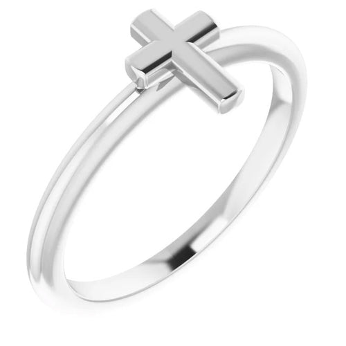 Ladies Sterling Silver Cross Religious Christian Band Ring