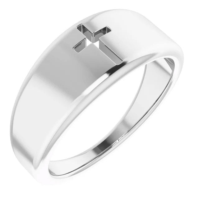 Ladies 0.925 Sterling Silver Pierced Cross Band Ring
