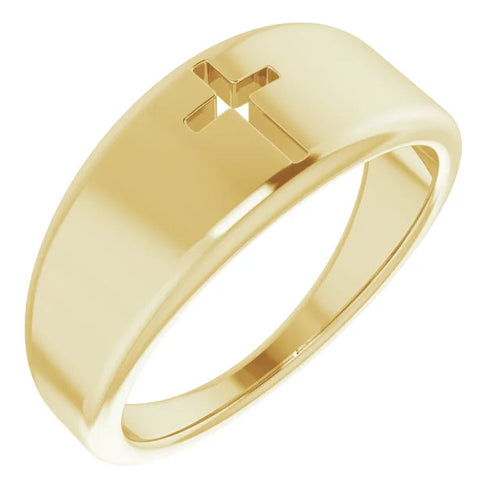 Ladies 14k Yellow Gold Pierced Cross Band Ring